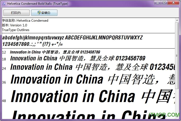Helvetica Condensed Bold Italic v1.0 免费版 0