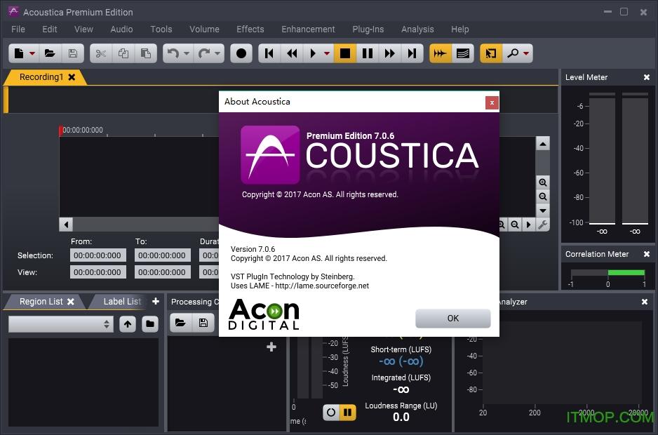 Acoustica Premium Edition(高级音频处理软件) v7.0.6 中文龙8国际娱乐唯一官方网站_附注册机 0