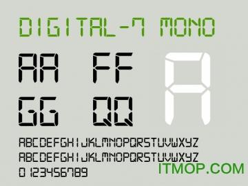 digital 7 led字体 免费版 0
